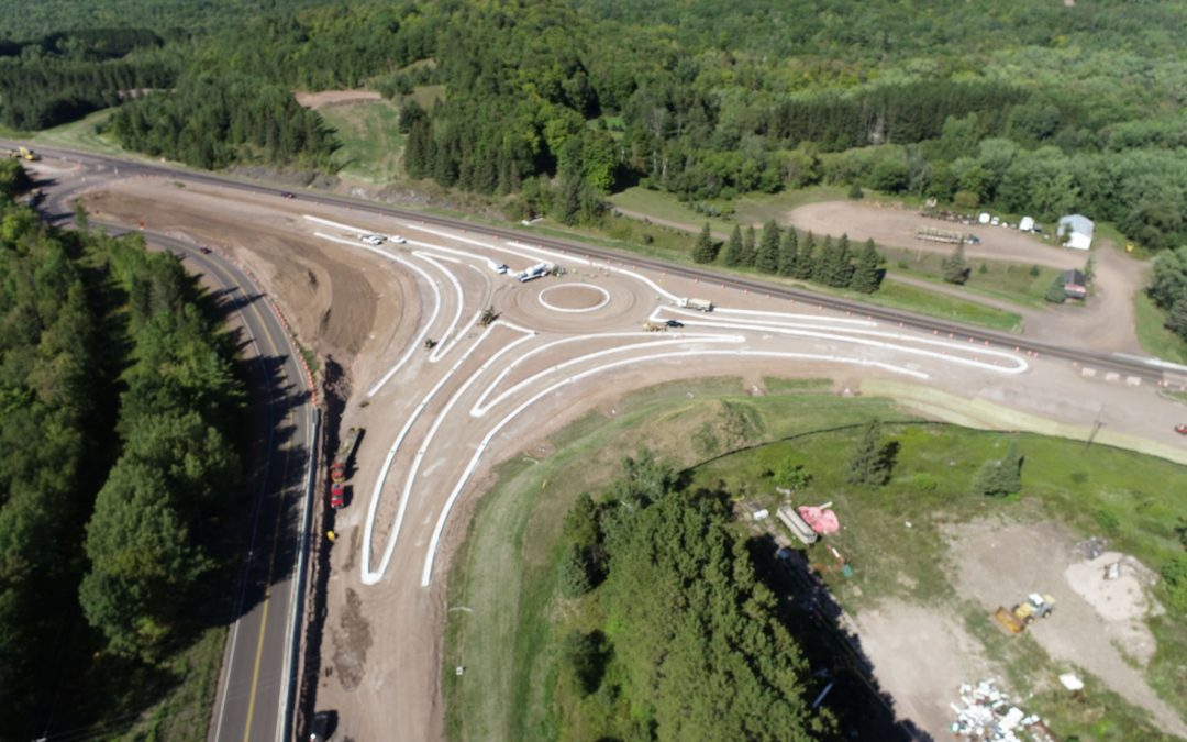 JPS crews are working hard to complete this roundabout project in Hurley, WI.